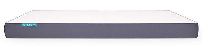vista lateral del colchon simba en blaco y gris