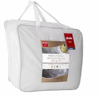 Pikolin Home - Edredón/Relleno nórdico natural de plumón de oca 98% antiácaros, funda 100% algodón de satén, 200gr/m²