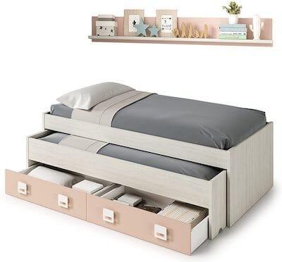 Cama nido barata con cajones y estantería incluida color blanco y rosa pastel, conjunto dormitorio infantil juvenil