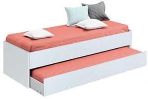 Cama nido de dormitorio juvenil color blanco brillo, somier inferior incluido barata