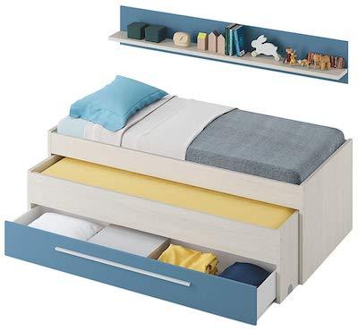 Habitdesign 0A7438Y - Cama Nido Juvenil Dos Camas y un cajón, Color Blanco Alpes y Azul