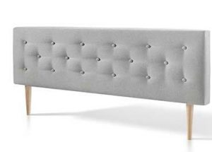 Cabecero de tale con tapizado capitone en color gris