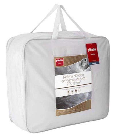Pikolin Home - Edredón/Relleno nórdico natural de plumón de oca 96%, funda 100% algodón de percal, 220gr/m²