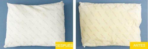 el antes y despues de limpiar una almohada en la lavadora