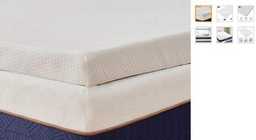 Este topper es de la marca Bedstory de color blanco y espuma de memoria