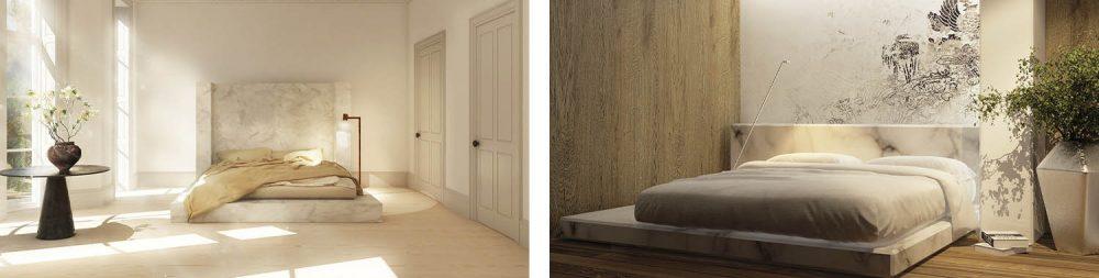 Cama con base de marmol diseño
