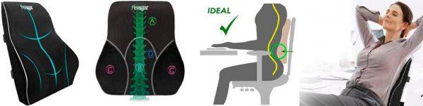 Cojin Lumbar Respaldo Lumbar Ergonómico Soporte de Espalda Alivie la Fatiga y el Dolor de espalda