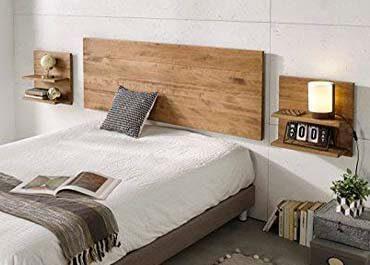 cabecero de madera con conjunto de dos mesitas de noche