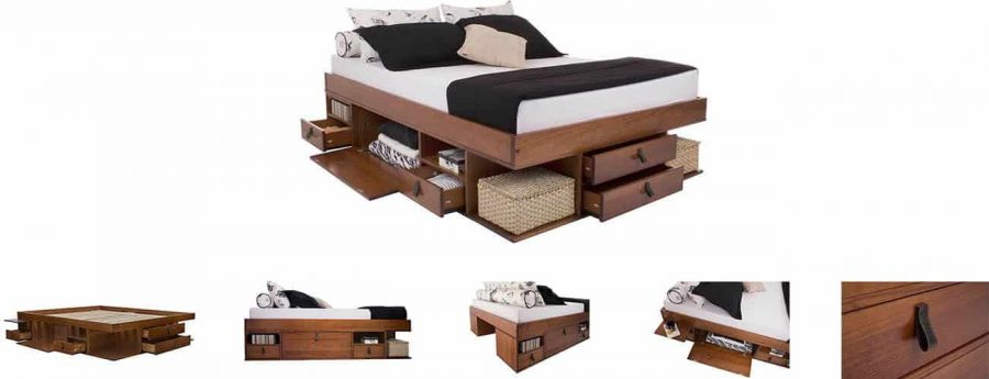 Memomad Bali cama con cajones de almacenamiento 6 con cajones, 8 estantes, 2 compartimentos con puertas y 2 estantes extraíbles