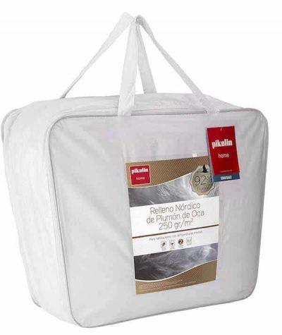 Pikolin Home - Edredón/Relleno nórdico natural de plumón de oca 92%, funda 100% algodón de percal, 250gr/m²